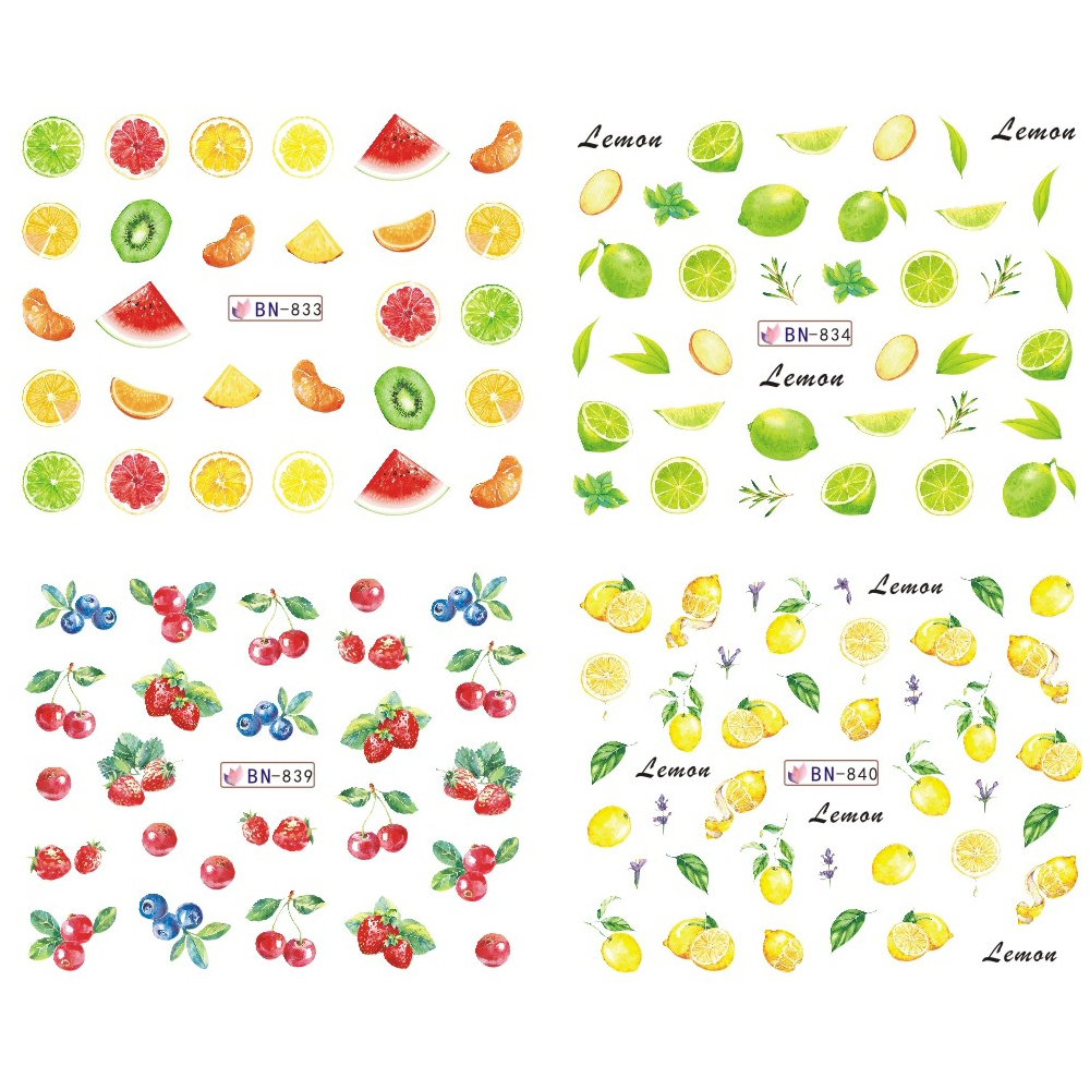 Image 4 - Mixed 12 Fruit Nail Sticker Set Lemon Water Decals Transfer Colorful Slider Tips Nail Art Watermelon Decor SABN829 840-in Stickers & Decals from Beauty & Health