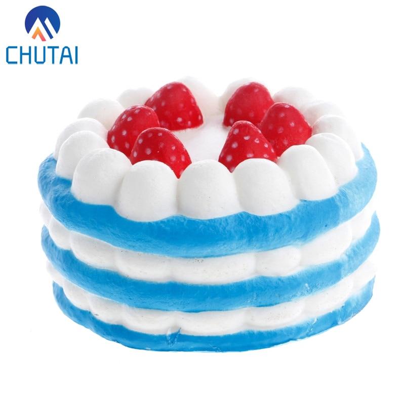 Jumbo Simulation Strawberry Birthday Cake Squishy PU Slow Rising Fun Squeeze Healing Toy Relieve Stress Toys 11*11*7 CM