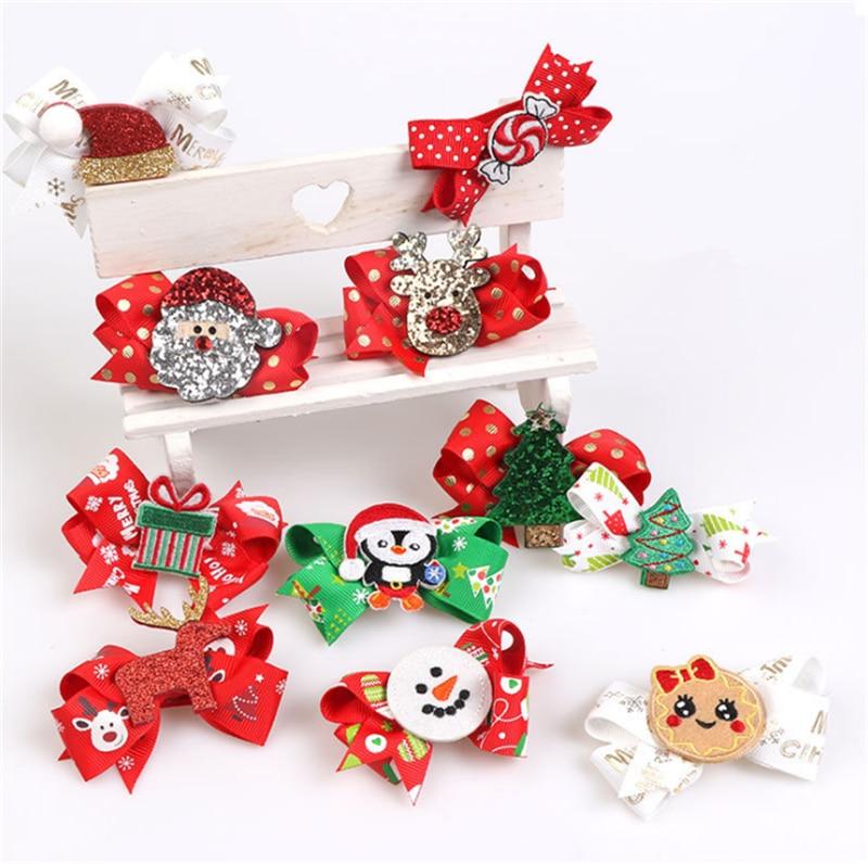 Noel Hair Clip Hair Bows Christmas 2019 Merry Christmas Ornaments Christmas Decor for Home Happy New Year 2019