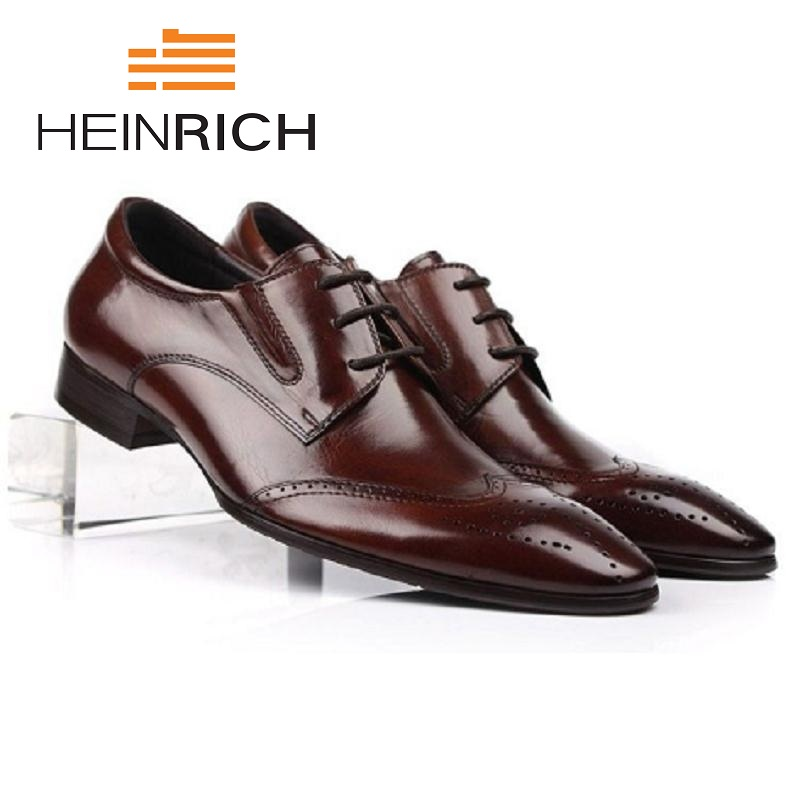 HEINRICH Men Leather Business Genuine Shoes Mens Luxury Brogues Pointed Toe Business Dress Gentlemen Shoes Derbies HommeHEINRICH Men Leather Business Genuine Shoes Mens Luxury Brogues Pointed Toe Business Dress Gentlemen Shoes Derbies Homme