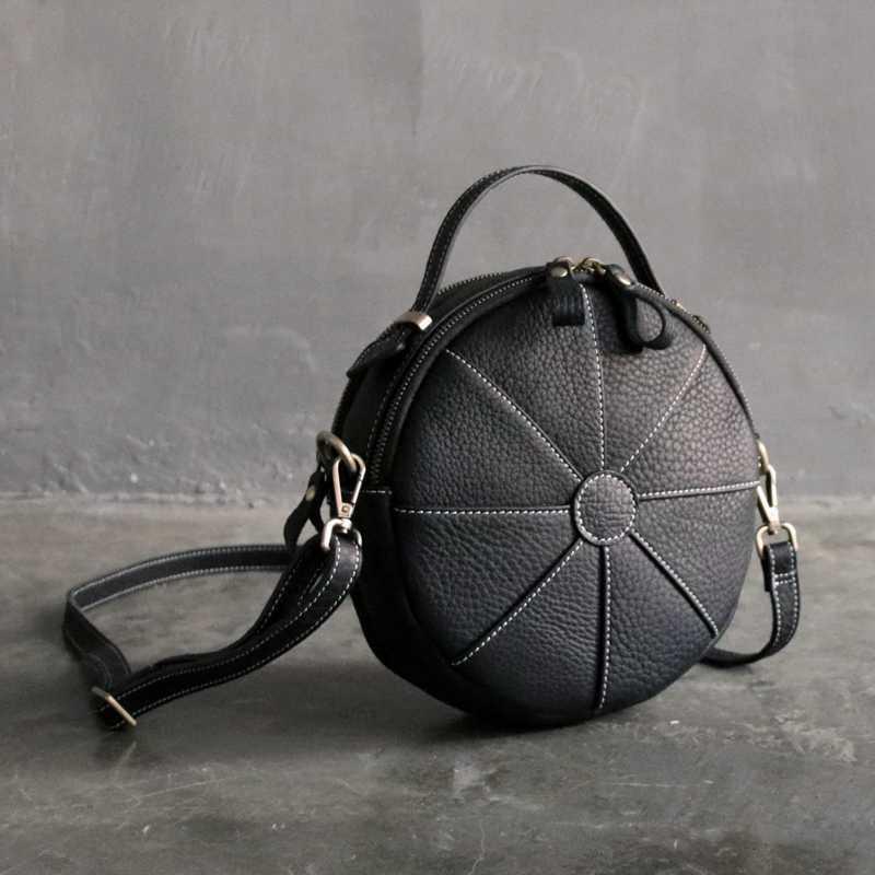 WOONAM Natuurlijke Echt Kalfsleer Tas Volledig Handgemaakte Kleine Satchel Handtas Creatieve Ronde Cross-body Bag WB527