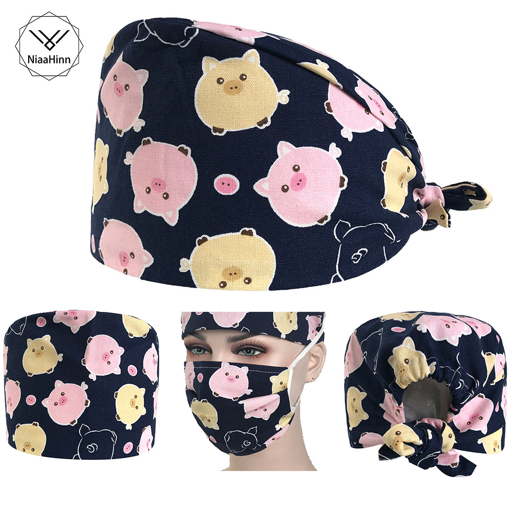 Surgical Scrub Pink Pet Pig Hat Printing Surgical Cap Hairdresser Beautician Pet Hospital Nurse Cap Cotton Hoist Hat And Mask