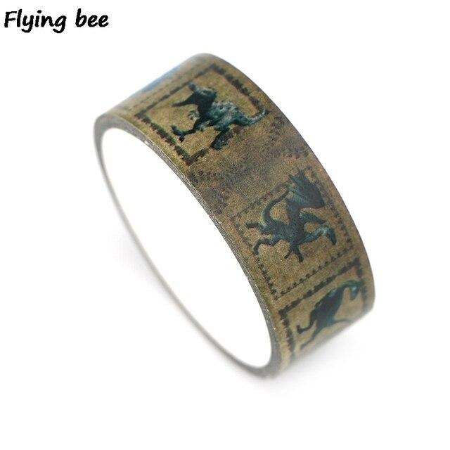 Flyingbee 15mmx5m dinossauro papel washi fita animais criativo fita adesiva diy scrapbooking adesivo fita x0332