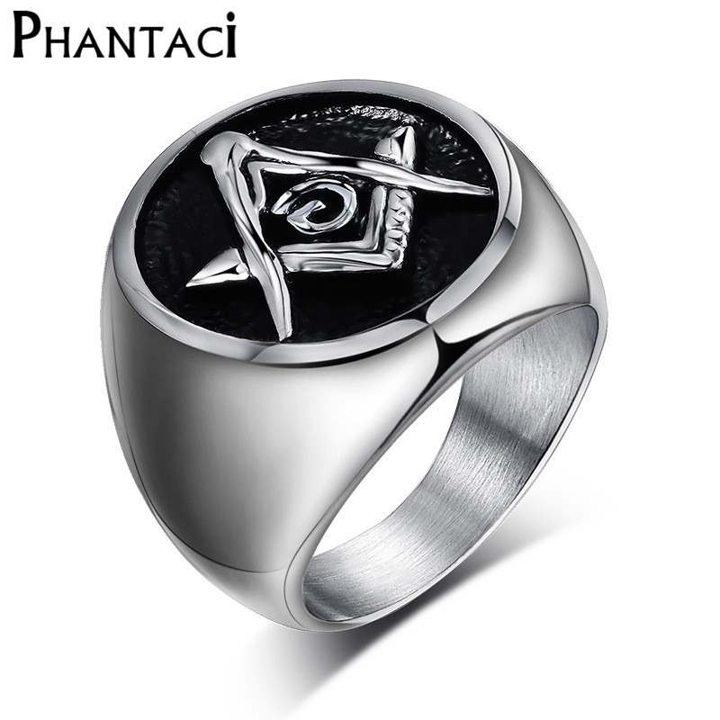 Sping Jewelry Retro Red Masonic Signet Gift Ring Titanium Steel Royal Arch Masons for Men
