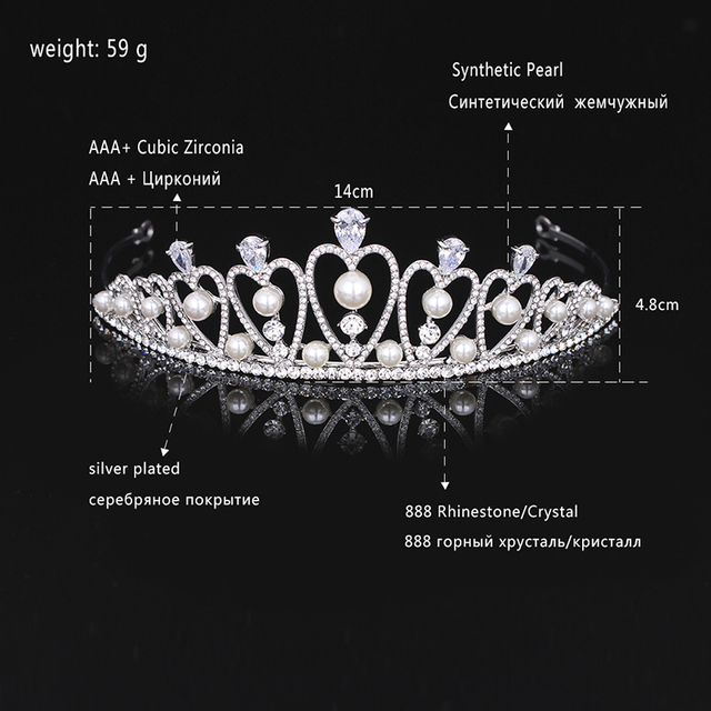 Heart Cubic Zirconia Tiara Silver Plated
