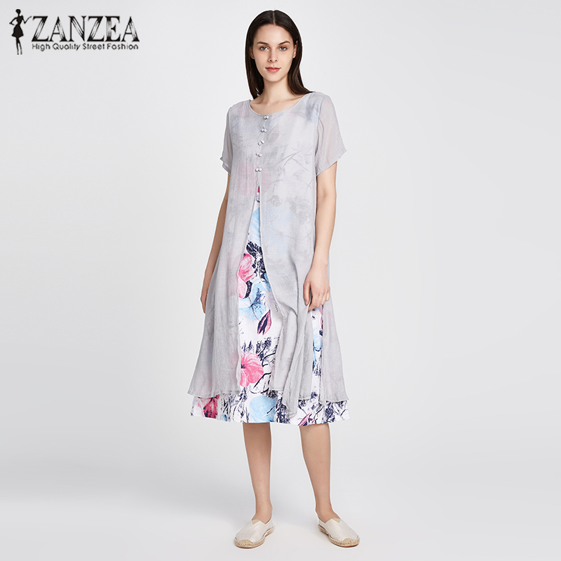 ZANZEA Cotton Linen Dress 2018 Women Vintage O Neck Short Sleeve Two Layers High Split Floral Print Loose Maxi Long Vestidos