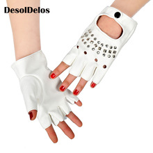 Luxury PU Leather Gloves Mens Theatrical Punk Hip-Hop Glove Women Fashion Square Nail Fingerless Lady Mittens Black