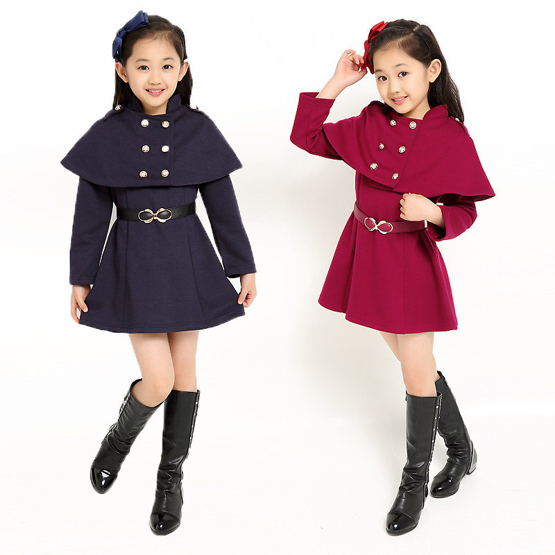 где купить Girls Coats for Kids Double Breasted Outerwear Girls Autumn Winter Jackets With Cappa 3 4 5 6 7 8 9 10 11 Years Girls Cool Coat по лучшей цене
