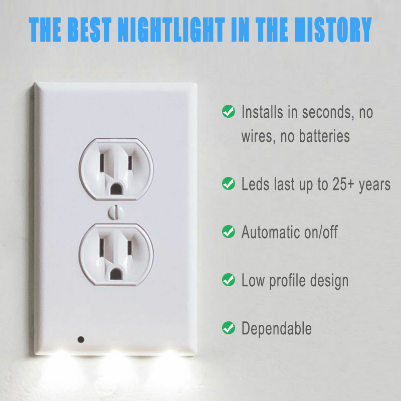 Image 4 - Kohree 5pcs Wall Outlet Cover Plate with LED Night Lights, Safety Light Sensor Plug Cover plate Socket Switch Cover for Hallway-in Night Lights from Lights & Lighting