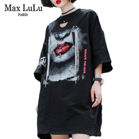 Max LuLu Luxury Punk Chains Designer Girls Summer Streetwear Womens Red Lip T Shirts Camisetas Mujer Woman 3d Printed Tshirt Tee