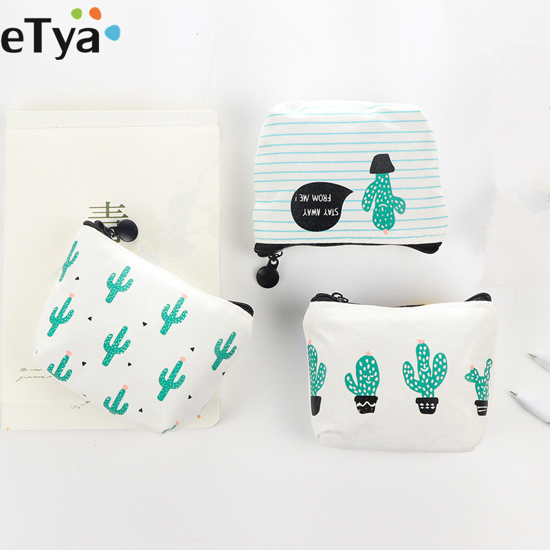 eTya Cartoon Cute Small  Kids Women's Purse Coin Wallet  Coin Purse Money Pouch Cactus Change Pouch Key Holder Bag