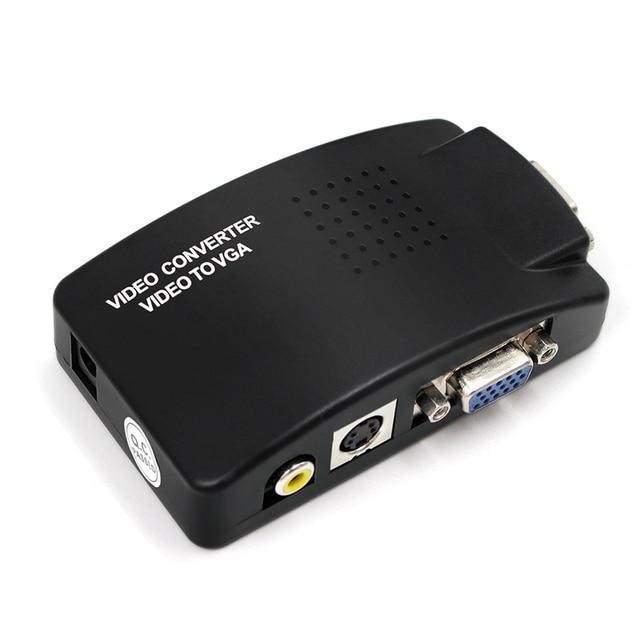 Adaptador av para vga, caixa de interruptor, adaptador de pc laptop, composto, vídeo av s video rca para pc, laptop, vga tv conversor