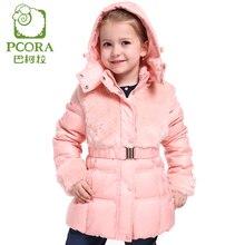 Pcora девушки верхняя одежда вниз пальто зима толщиной согреться лолита капюшоном парки пояс/пояс девушки длинные зимняя куртка высокого качество