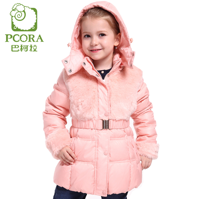 PCORA Girls Outerwear Down Coats Winter Thick Keep Warm Lolita Hooded Parkas Waist/Belt Girls Long Jacket Winter High Quality