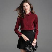 Solid turn down collar single breasted long sleeve women spring blouse