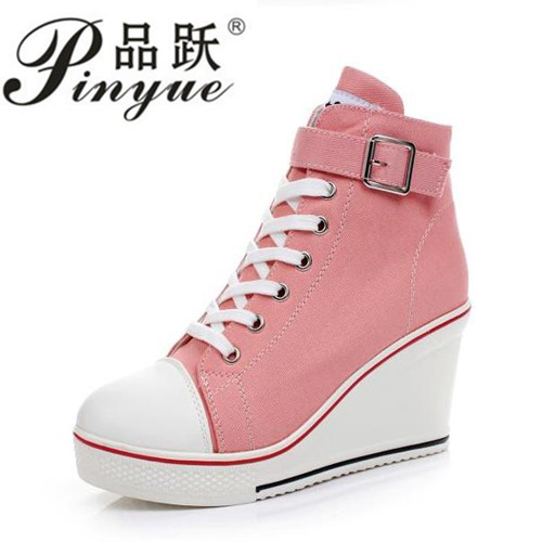 hot Canvas Shoes Women Wedges High Top Platform Shoes Woman Casual Trainers Elevator Shoe High Heels Zapatos Mujer size 35--43