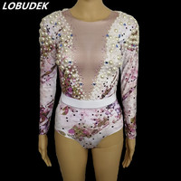 Long Sleeve Pearl Rhinestones Bodysuit Women Singer Dancer Nightclub Clothing Bar Party Celebration Leotard Stage Dance Wear