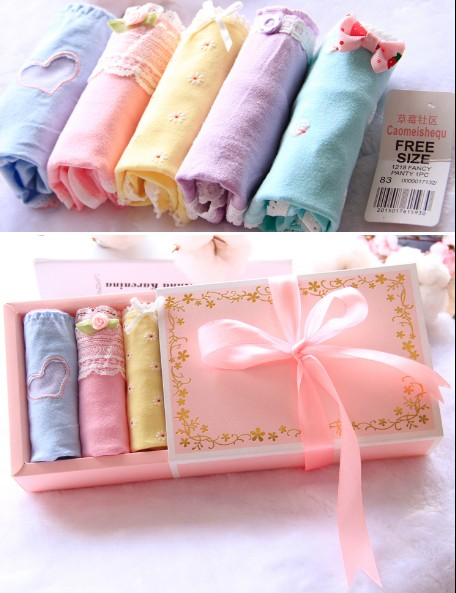 5pcs/lot gift box womens cute panties cotton cotton young grils panties Macaron cotton set lace underwear panty plus size
