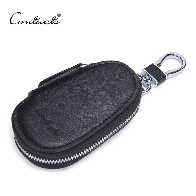 CONTACT'S New Arrival Men's Genuine Cow Leather Bag Car Key Wallets Fashion Women Housekeeper Holders Carteira Free Shipping