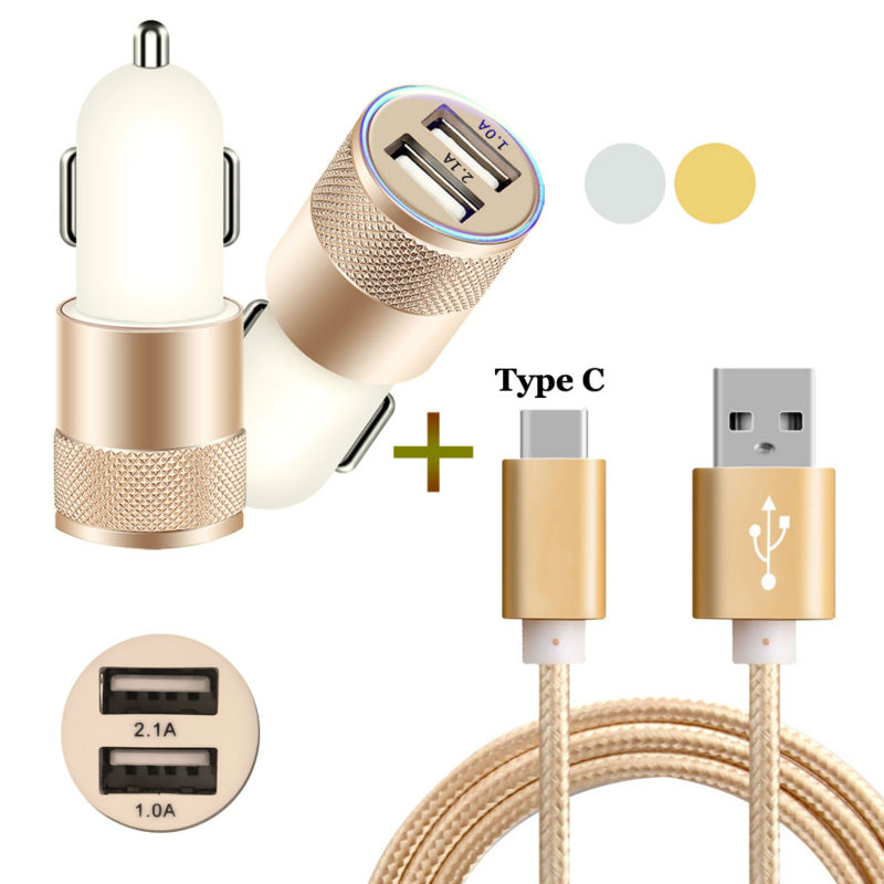 2-Port Smart USB Quick Car Charger + 3FT Type C USB Cable for Oneplus 3 3T/LG G5 /Nexus 6P 5X /Elephone P9000 M3 /Huawei P9 Plus