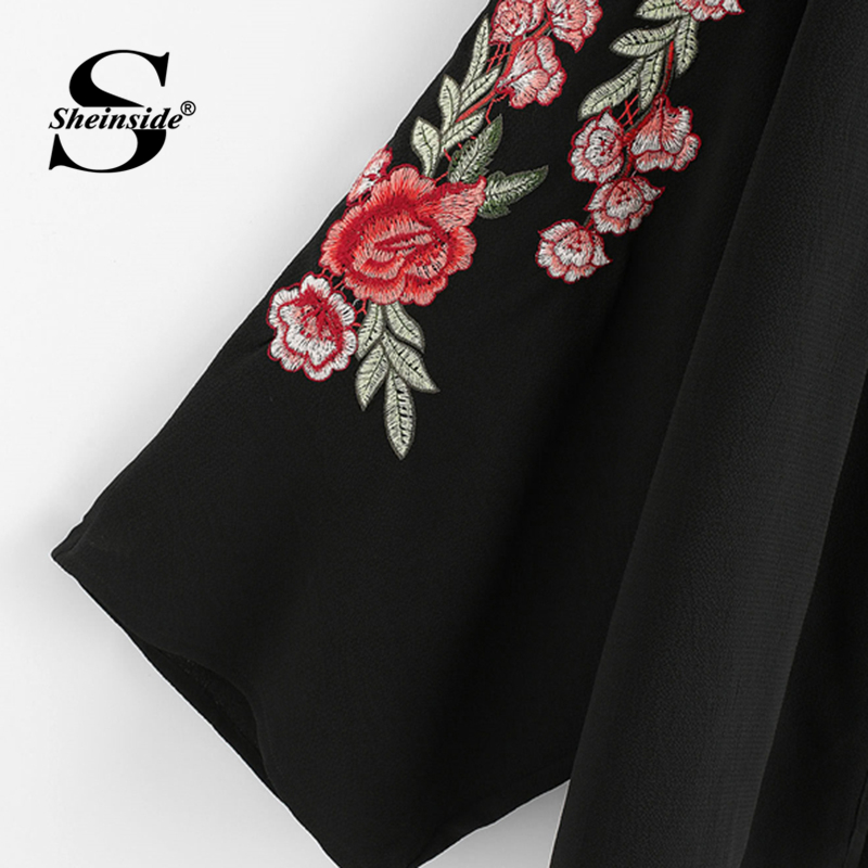 Sheinside Embroidered Sleeve Open Front Kimono 2018 Summer Long Sleeve Floral Tops Women Black Longline Appliques Blouse