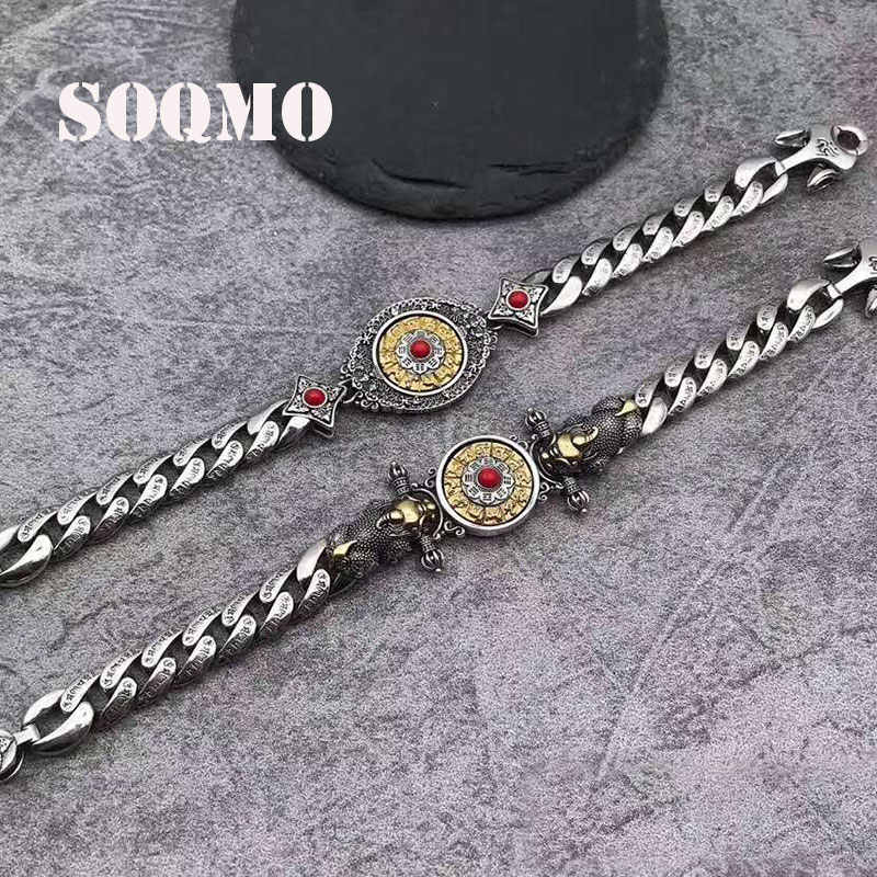 SOQMO Buddha Couple Bracelet 100% Real 925 Sterling Silver Women Rotatable Mantra Bracelet Bangle Jewelry Tom Hope Trendy SQM254