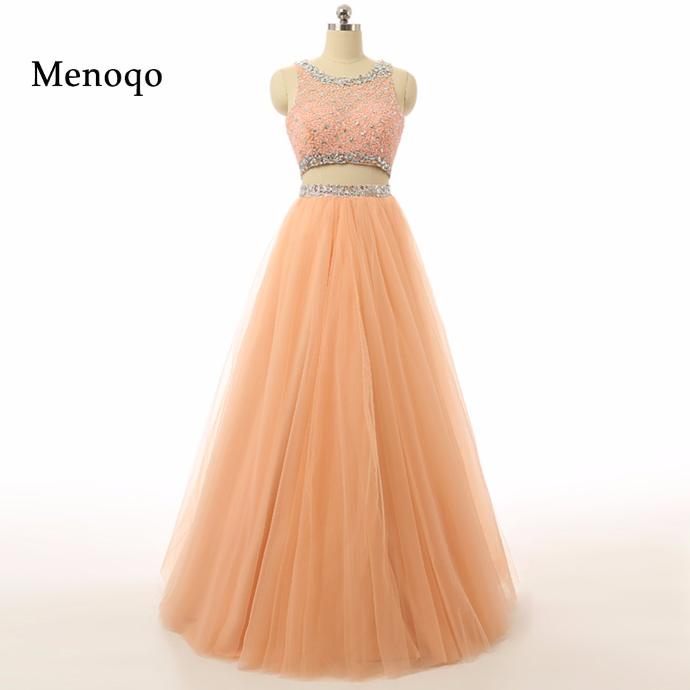 2017 Luxury A line Two Piece Prom Dresses Real Picture Vestidos Longo Prom Gowns Full Length Tulle Beaded Evening Dresses long