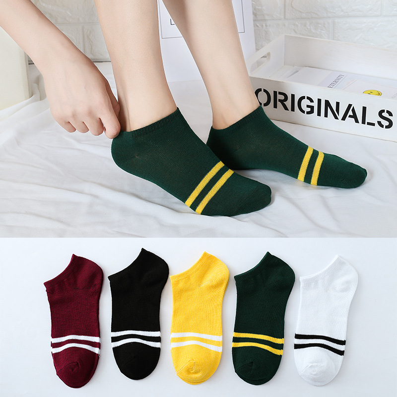 Jeseca 5pairs/lot Mixed Color Socks Spring Summer Fashion Comfortable Ankle Short Boat Socks Women Breathable Soft Cotton Socks