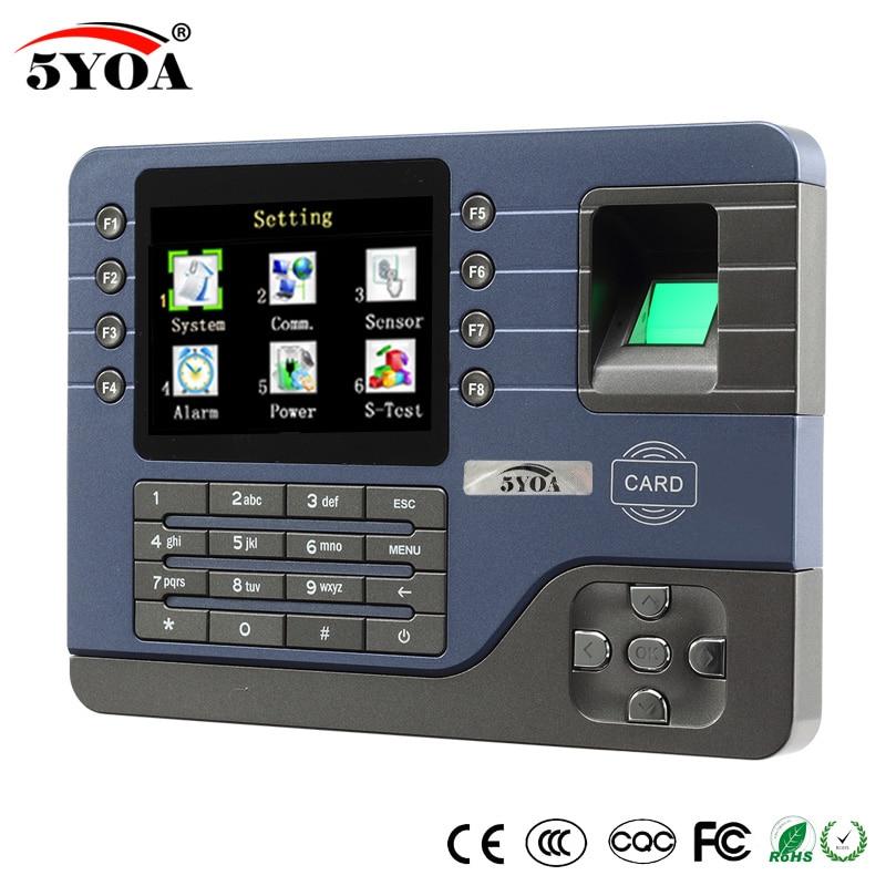 5YOA 5YA091A tcp ipバイオメトリック指紋時間出席時計レコーダーデジタル電子英語リーダー機usb idカード  グループ上の セキュリティ & プロテクション からの 指紋認識装置 の中 1