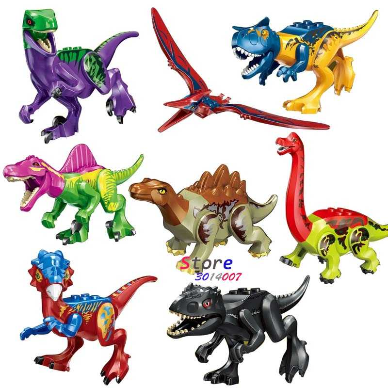 1 pcs Mundo Jurássico Tiranossauro Rex Dinossauro Carnotaurus Interprocriar Blocos de Construção Filme Conjunto Modelo Brinquedos para Crianças