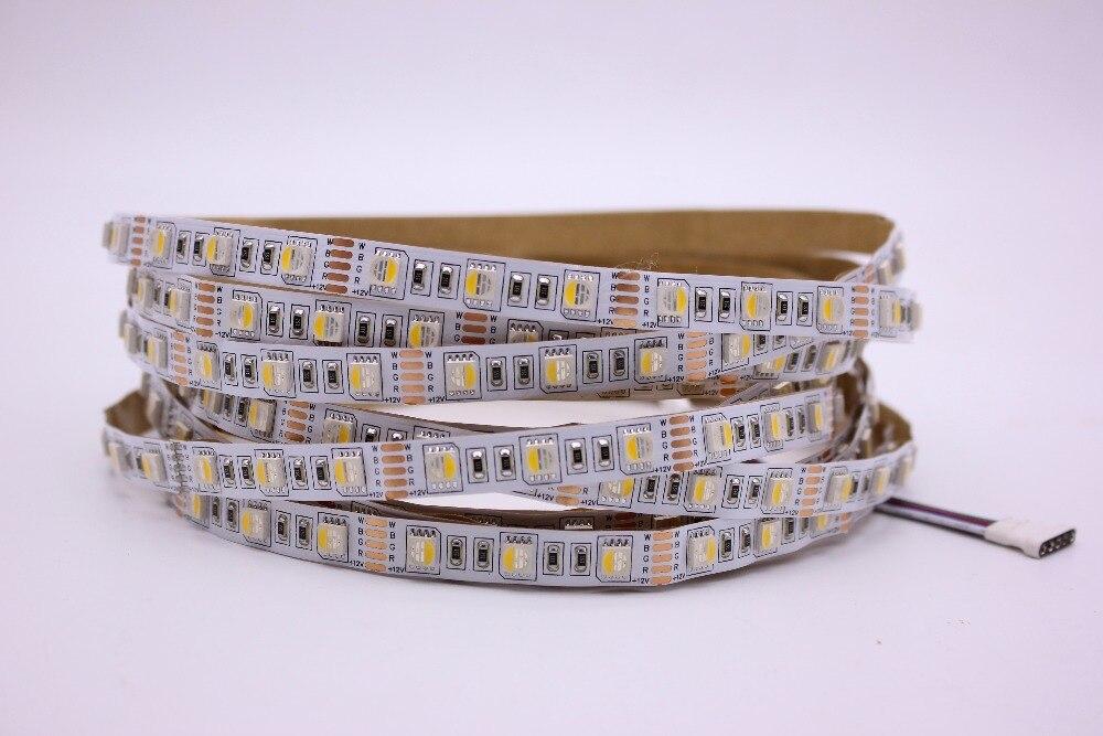 10MM PCB RGBW LED Strip 5050 DC12V Flexible Light RGB+White / RGB+Warm White 4 color in 1 LED Chip 60 LED/m 5m/lot.