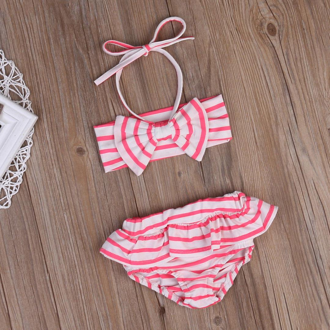 187630a056573c Kids Peuter Baby Meisjes Gestreepte Ruches Boog Badmode Halter Badpak  Badpak Bikini Tankini Set Beachwear Zomer Swim Pak in Kids Peuter Baby  Meisjes ...