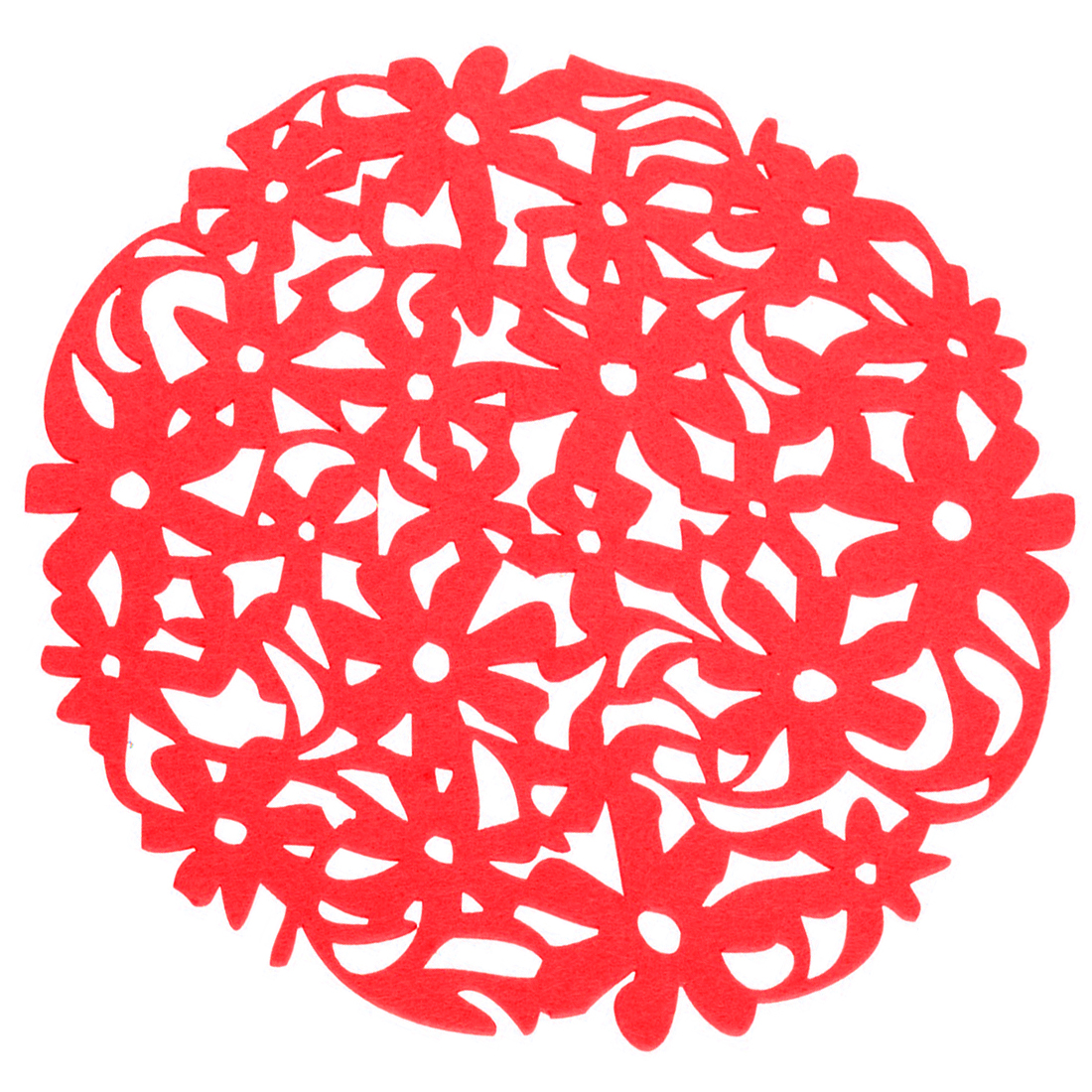 HOT SALE Round Laser Cut Flower Felt Placemats Kitchen Dinner Table Cup Mats Cushion Red