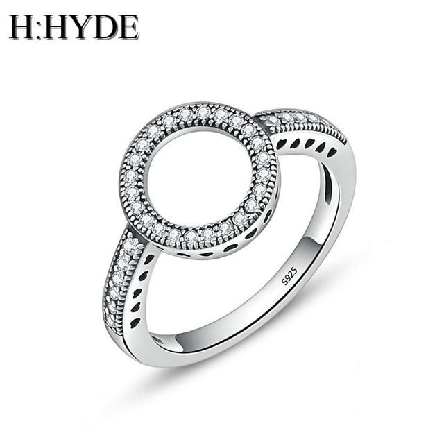 H:HYDE Fashion Engagement Woman CZ Ring For Women Female Black Circle Round Finger Rings Bijoux Ladies Lover Wedding Jewelry