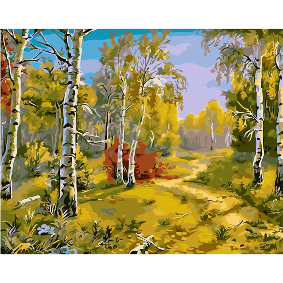 Frameless pictures birch forest pattern oil painting for Oil painting patterns