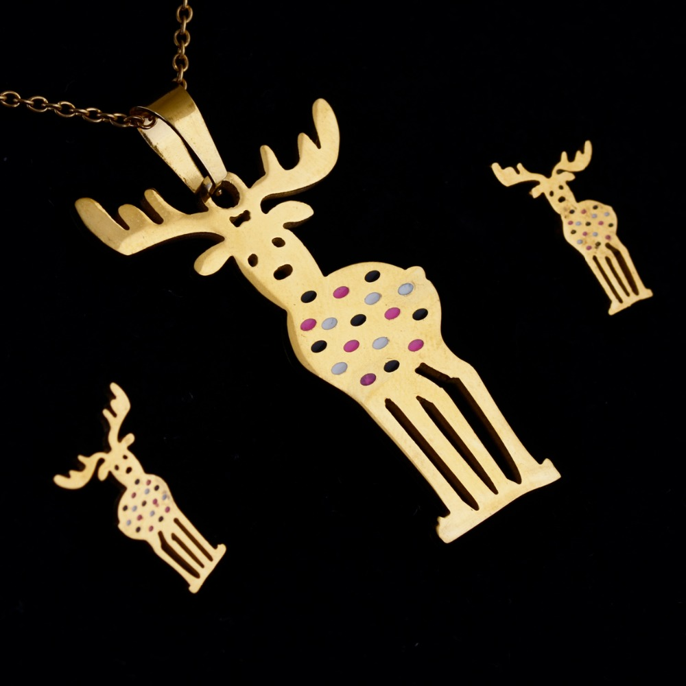 2016 Jewelry Set Stainless Steel Top Quality Giraffe Gold Plated Necklace  Stud Earrings Sets Jewelry Sets