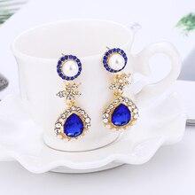 Bohopan 3Color Simulated Pearl Earrings for Women Water Drop Rhinestone Female Dangle Fashion Luxury 2019