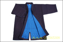 Top Quality 100% Cotton with HiDriTex Navy Blue Double Layer Kendo Aikido Iaido Gi Martial Arts Uniforms   Free Shipping