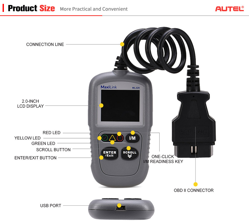 Details about Autel MaxiLink ML329 OBD2 Car Fault Code Reader Diagnostic  Scan Tool I/M AutoVIN