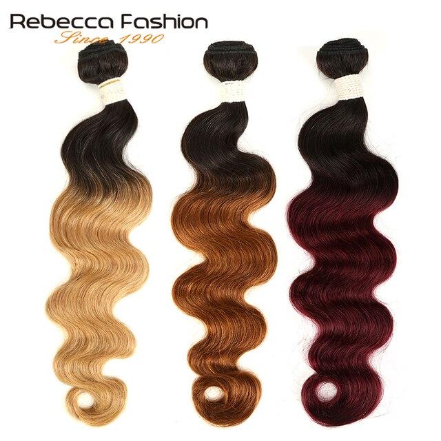 Rebecca Ombre Brazilian Body Wave Bundles 3/4 Pcs Non Remy 100% Human Hair Bundles 2 Tone Color T1B/27# T1B/30# T1B/99J#