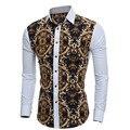 Camisa slim fit masculina мужчины рубашку горячей продажи 3D ретро печать мужские случайные тонкий рубашки с длинными рукавами мужские рубашки M-XXL