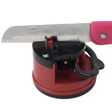 1pc Red Knife Sharpener Scissors Grinder Secure Suction Chef Pad Kitchen Sharpening Tool Plastic for Knives