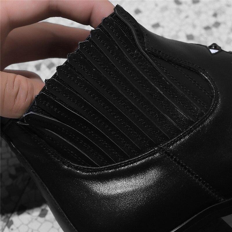 ed7a4eaec Cuero Alto Zapatos De Gran Botas Xinbest short leather Venta Cuadrado Tacón  Niña Plush short Black Punta Brown Puntiaguda 2018 Mujer ...