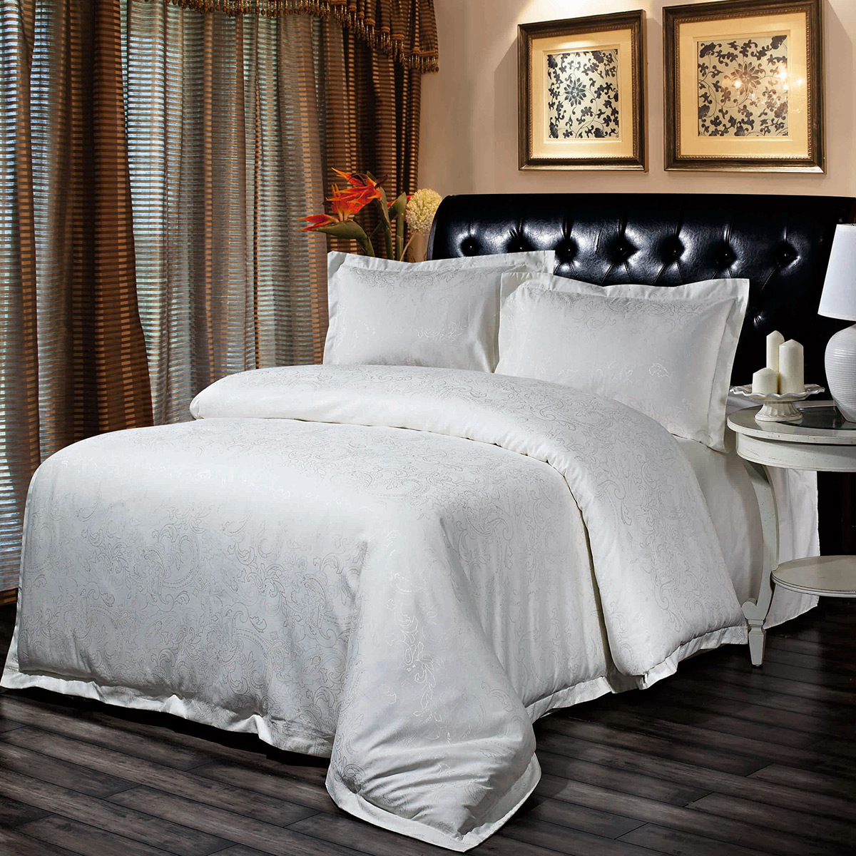 Luxury Hotel Bedding Sets.European Damask Jacquard Bedding Set Queen Size Luxury