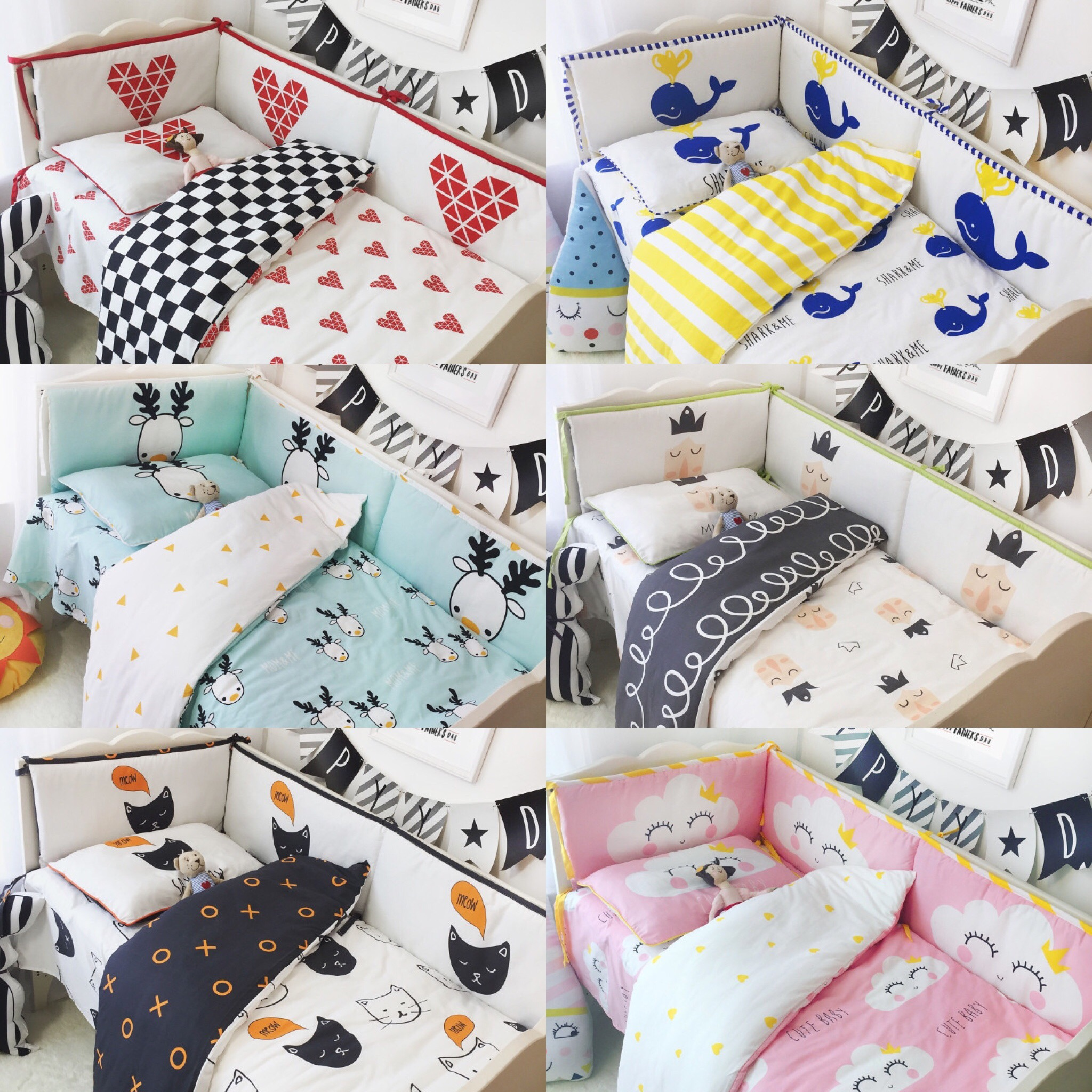 7pcs / Set Ins Baby Bedding Cotton Baby Bedding Cot Set  Bumper Baby Cot Sets Bed Around Protector Pink Clouds Deer Whale Crown