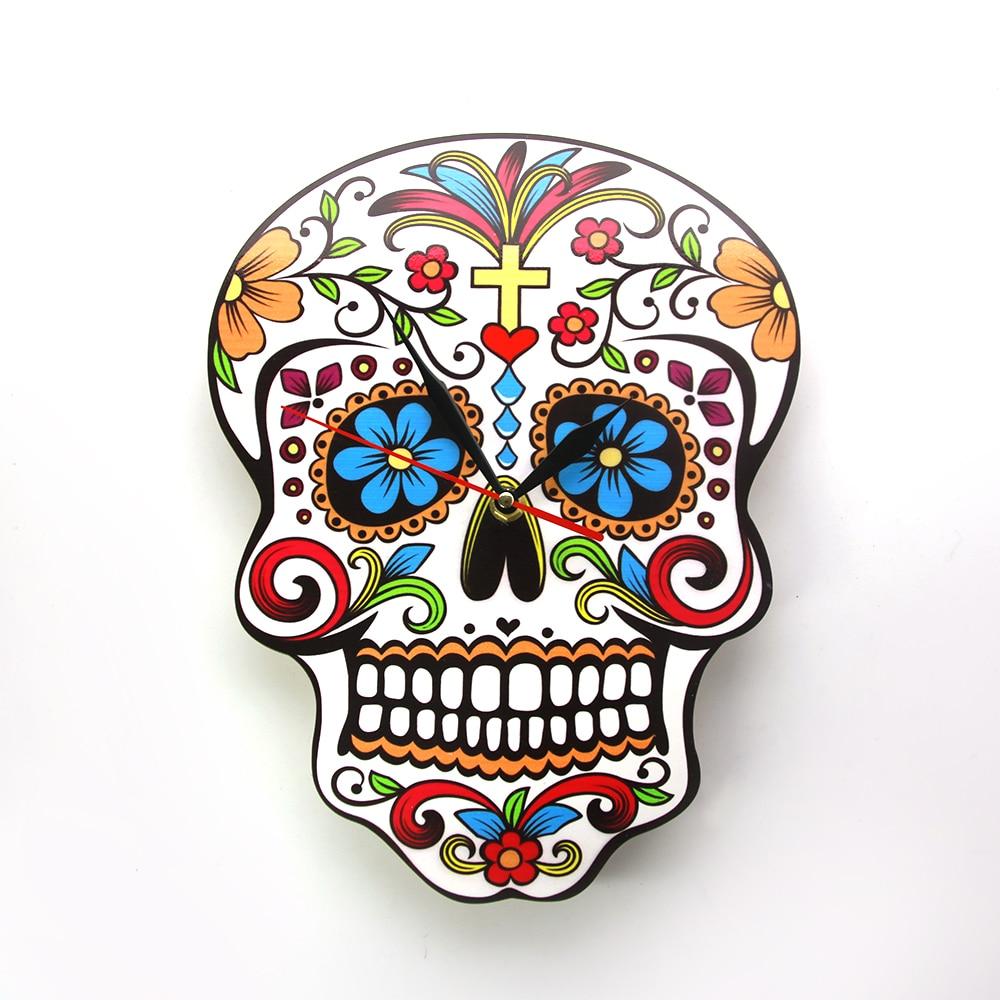 Mexicain Dia De Los Muertos Jour De la Mort Horloge Murale Floral Crâne Moderne Mur Horloge Bonbons Sucre Crâne Halloween mur Décor