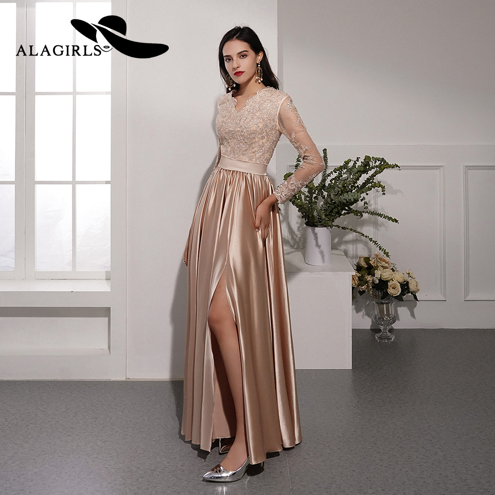 Alagirls New Arrival Prom Dress 2019 Silk Satin Party Dress A line Evening Dress with Appliques and Beading Formal Woman Dress in Prom Dresses from Weddings Events