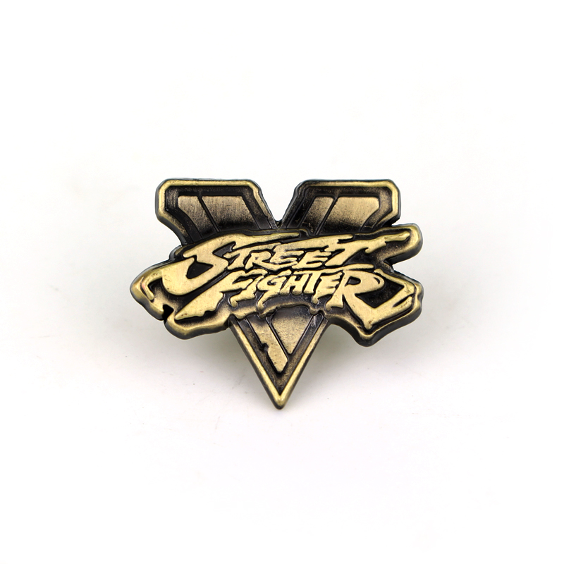 Street Fighter 5 V Logo Badge Brooch Vintage Antique Bronze Metal Brooches and Pins Fashion Game Jewelry