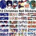 12 Hojas nail art stickers transferencia de agua calcomanías de uñas decoraciones de Navidad belleza manicura herramientas de Papá Noel muñeco de nieve de diseño