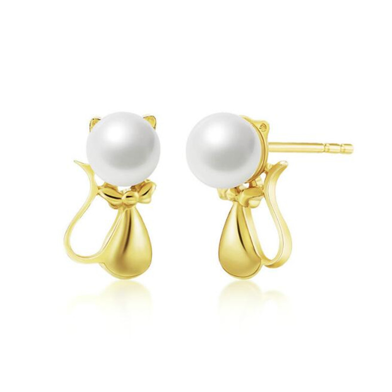 18K Yellow Gold Cute Cat Stud Earring 4.5-5MM Natural Cultured Freshwater Pearl Animal Earrings for Women Gift Bijoux Brincos ainuoshi 18k yellow gold natural cultured freshwater pearl wedding stud earrings big white pearl for women jewelry brincos gift